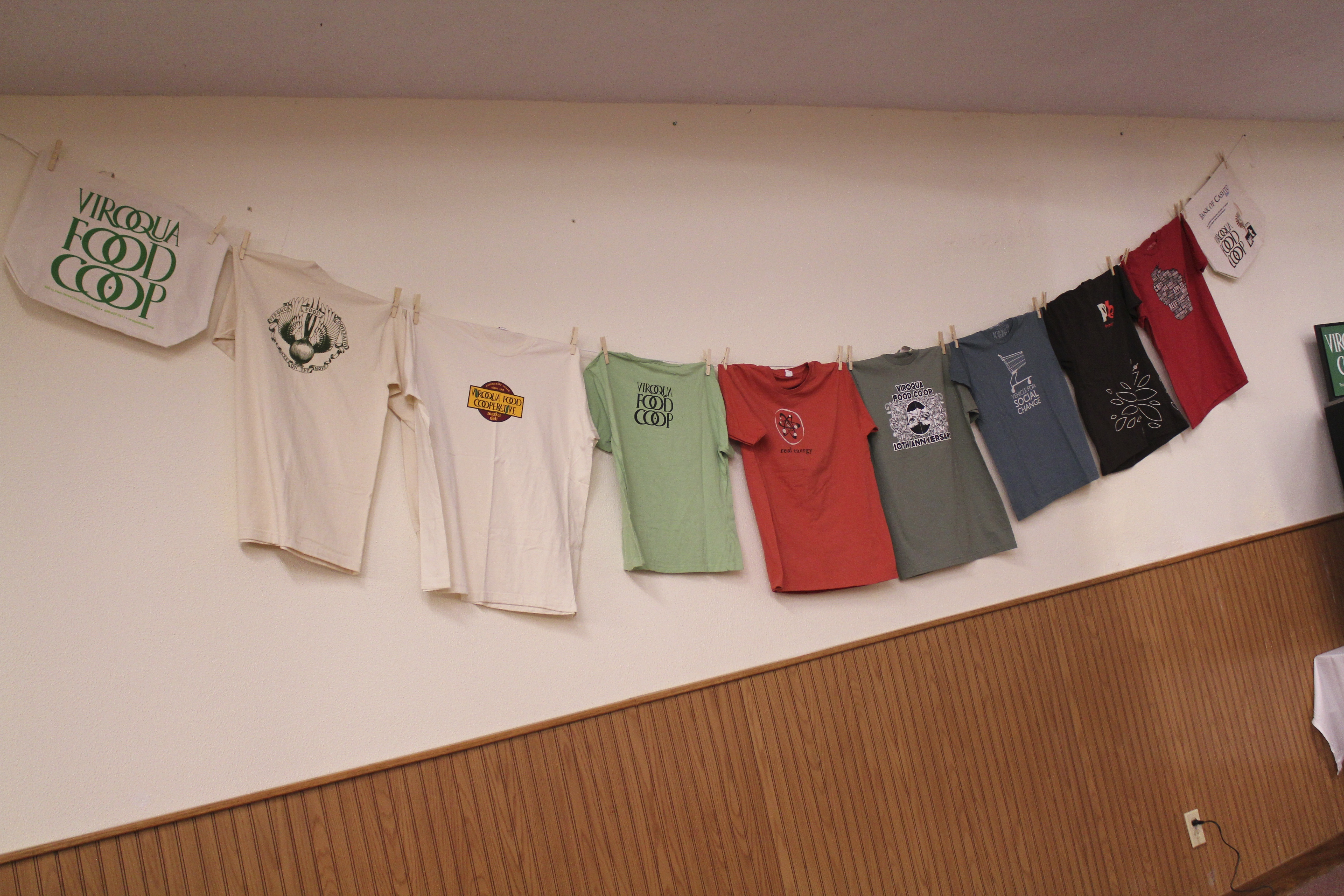 On display at the community conversation, were relics from VFC's history, such as these tees.